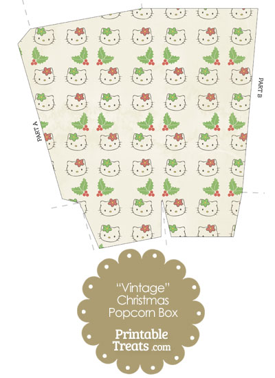 Vintage Hello Kitty Christmas Holly Popcorn Box from PrintableTreats.com