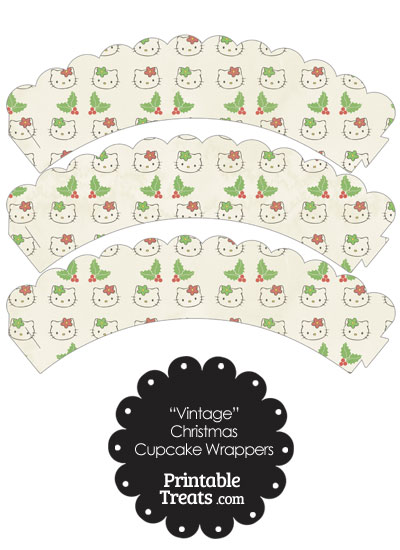 Vintage Hello Kitty Christmas Holly Scalloped Cupcake Wrappers from PrintableTreats.com