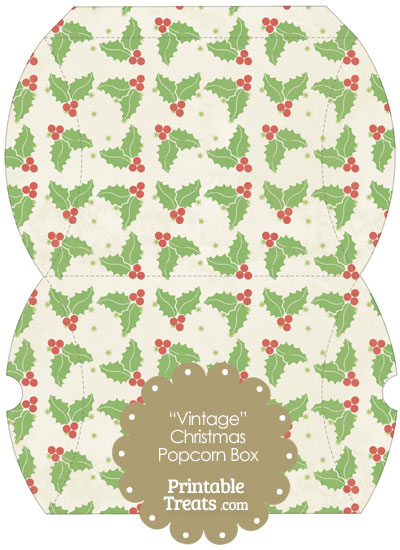 Vintage Large Christmas Holly Pillow Box from PrintableTreats.com