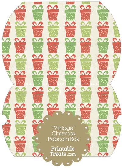 Vintage Large Christmas Presents Pillow Box from PrintableTreats.com