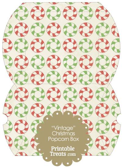 Vintage Large Christmas Wreath Pillow Box from PrintableTreats.com