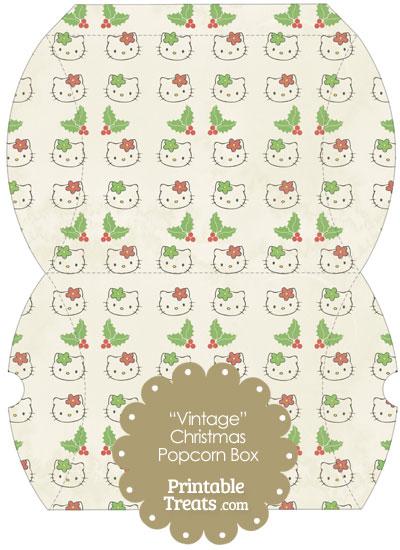 Vintage Large Hello Kitty Christmas Holly Pillow Box from PrintableTreats.com