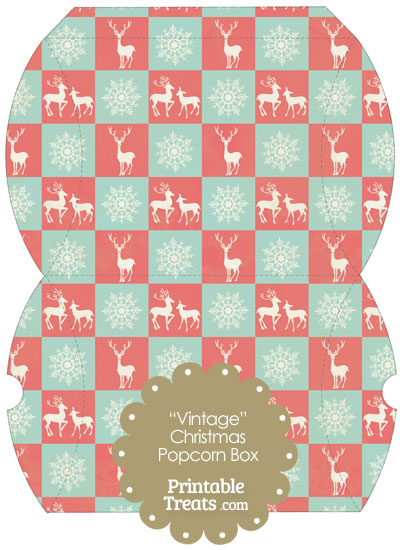 Vintage Large Reindeer and Snowflakes Pillow Box from PrintableTreats.com