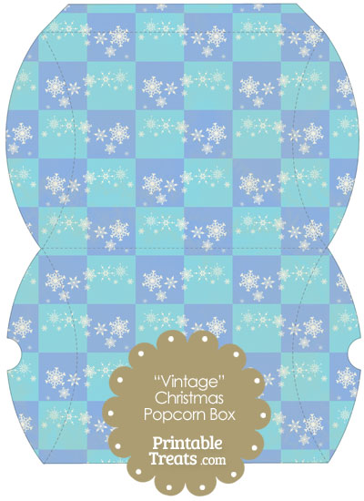 Vintage Large Snowflake Checkered Pillow Box from PrintableTreats.com