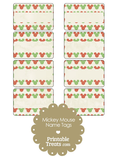 Vintage Mickey Mouse Christmas Name Tags from PrintableTreats.com