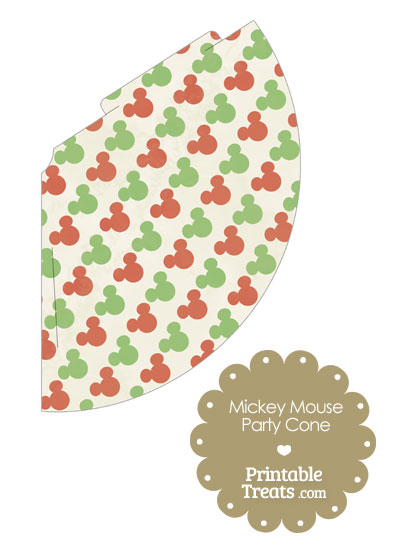 Vintage Mickey Mouse Christmas Party Cone from PrintableTreats.com