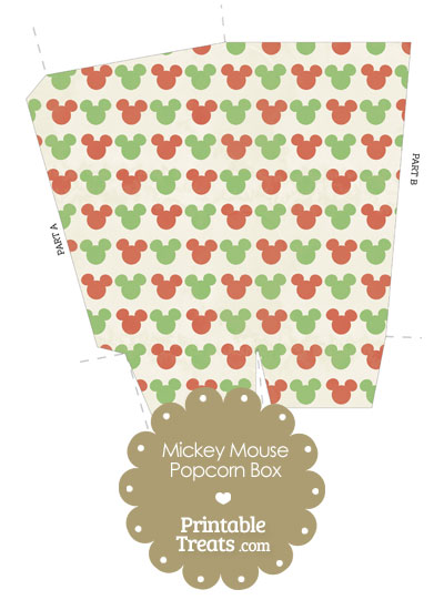 Vintage Mickey Mouse Christmas Popcorn Box from PrintableTreats.com