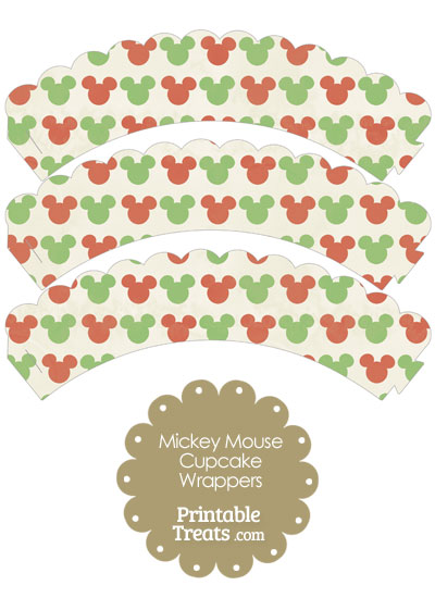 Vintage Mickey Mouse Christmas Scalloped Cupcake Wrappers from PrintableTreats.com