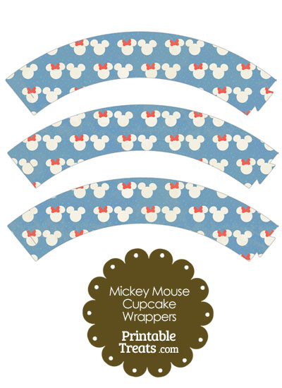 Vintage Minnie and Mickey Snow Theme Cupcake Wrappers from PrintableTreats.com