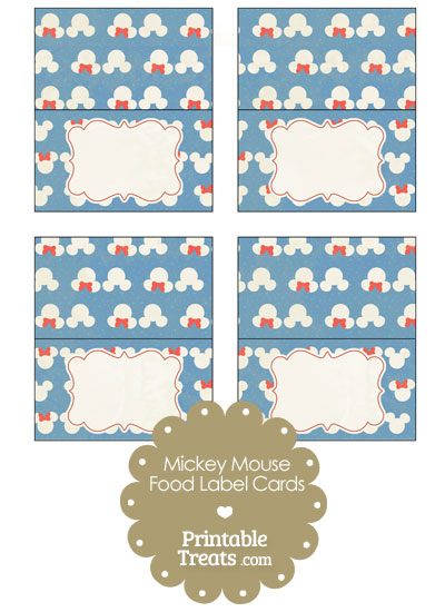 Vintage Minnie and Mickey Snow Theme Food Labels from PrintableTreats.com