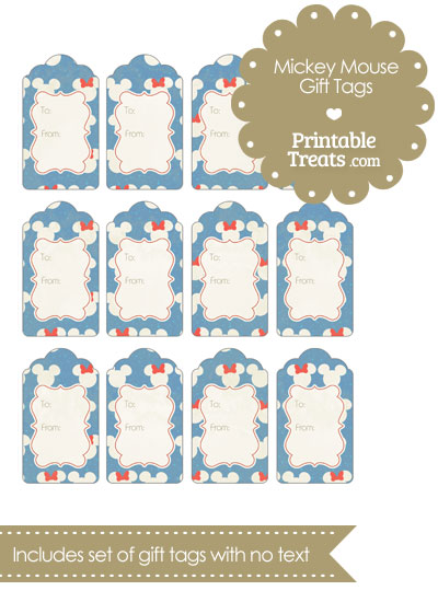 Vintage Minnie and Mickey Snow Theme Gift Tags from PrintableTreats.com
