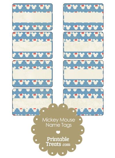 Vintage Minnie and Mickey Snow Theme Name Tags from PrintableTreats.com