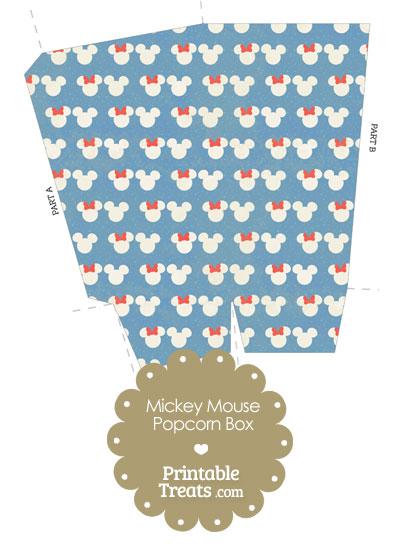 Vintage Minnie and Mickey Snow Theme Popcorn Box from PrintableTreats.com
