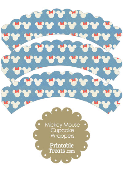 Vintage Minnie and Mickey Snow Theme Scalloped Cupcake Wrappers from PrintableTreats.com