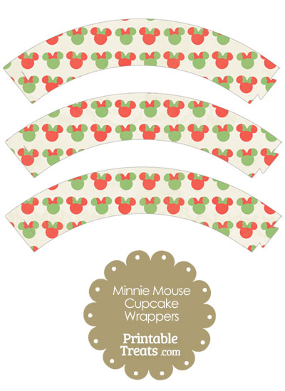 Vintage Minnie Mouse Christmas Cupcake Wrappers from PrintableTreats.com