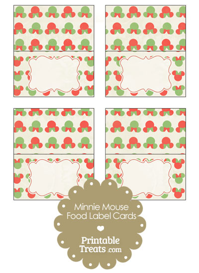 Vintage Minnie Mouse Christmas Food Labels from PrintableTreats.com