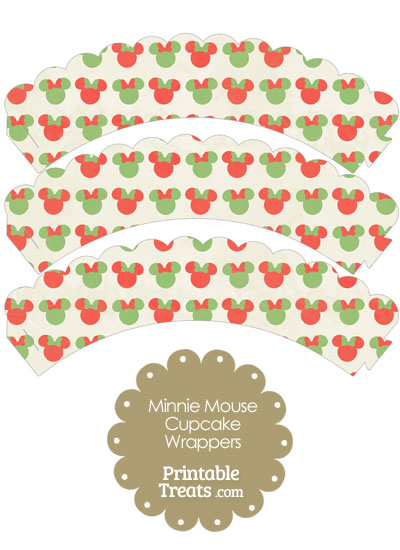 Vintage Minnie Mouse Christmas Scalloped Cupcake Wrappers from PrintableTreats.com