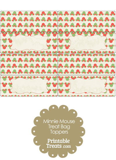 Vintage Minnie Mouse Christmas Treat Bag Toppers from PrintableTreats.com