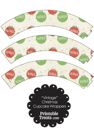 Vintage Noel Christmas Ornament Cupcake Wrappers from PrintableTreats.com
