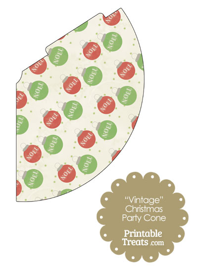 Vintage Noel Christmas Ornament Party Cone from PrintableTreats.com