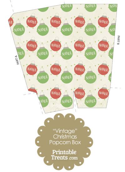 Vintage Noel Christmas Ornament Popcorn Box from PrintableTreats.com