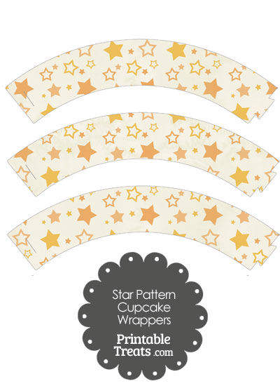Vintage Orange Star Pattern Cupcake Wrappers from PrintableTreats.com
