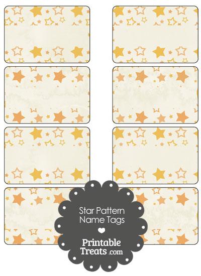 Vintage Orange Star Pattern Name Tags from PrintableTreats.com