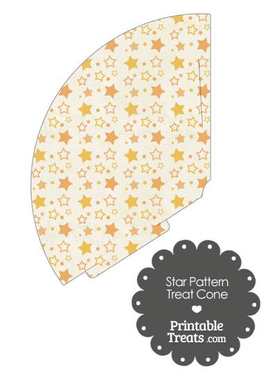 Vintage Orange Star Pattern Treat Cone from PrintableTreats.com