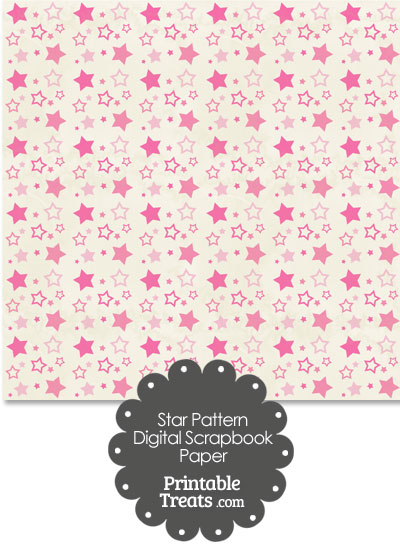 Vintage Pink Star Pattern Digital Scrapbook Paper from PrintableTreats.com