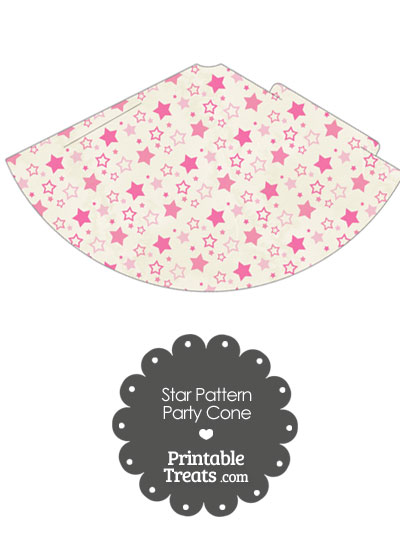 Vintage Pink Star Pattern Party Cone from PrintableTreats.com
