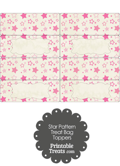 Vintage Pink Star Pattern Treat Bag Toppers from PrintableTreats.com