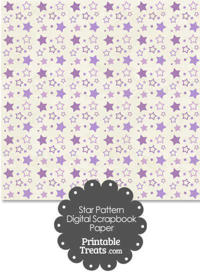 Vintage Purple Star Pattern Digital Scrapbook Paper from PrintableTreats.com