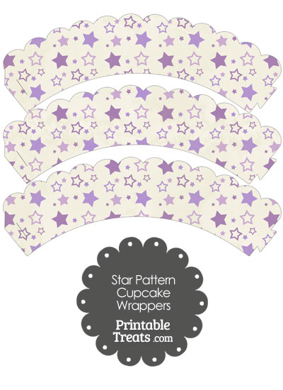 Vintage Purple Star Pattern Scalloped Cupcake Wrappers from PrintableTreats.com