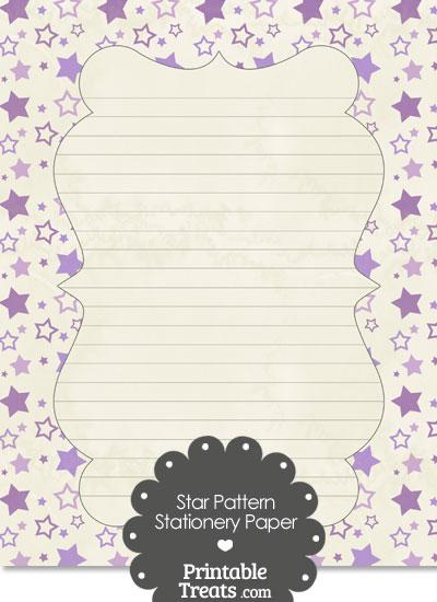 Vintage Purple Star Pattern Stationery Paper from PrintableTreats.com