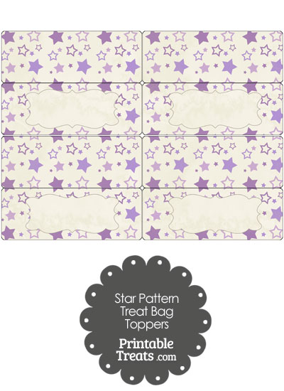 Vintage Purple Star Pattern Treat Bag Toppers from PrintableTreats.com