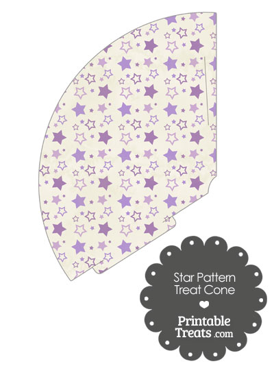 Vintage Purple Star Pattern Treat Cone from PrintableTreats.com
