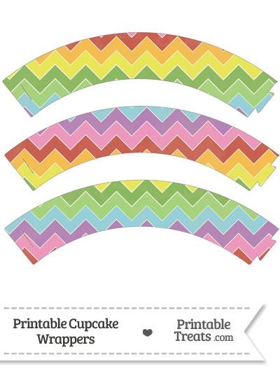 Vintage Rainbow Chevron Cupcake Wrappers from PrintableTreats.com
