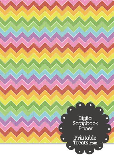 Vintage Rainbow Chevron Digital Scrapbook Paper from PrintableTreats.com