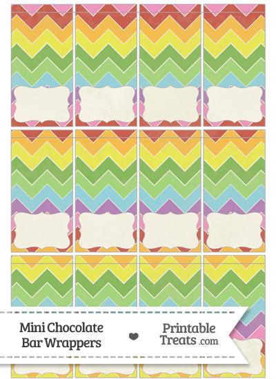 Vintage Rainbow Chevron Mini Chocolate Bar Wrappers from PrintableTreats.com