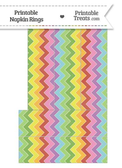Vintage Rainbow Chevron Napkin Rings from PrintableTreats.com
