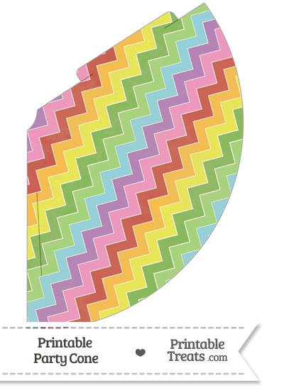 Vintage Rainbow Chevron Party Cone from PrintableTreats.com