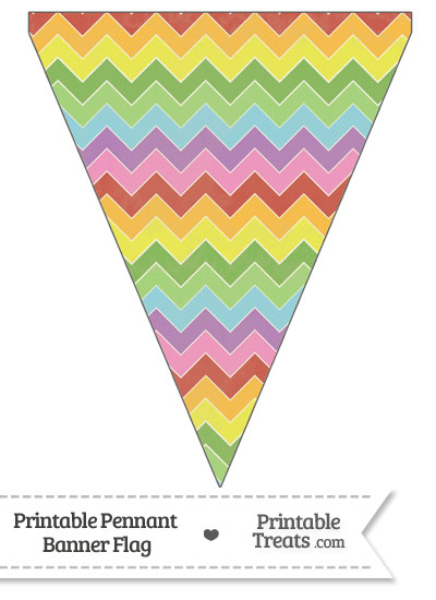 Vintage Rainbow Chevron Pennant Banner Flag from PrintableTreats.com