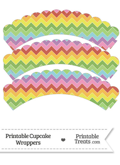 Vintage Rainbow Chevron Scalloped Cupcake Wrappers from PrintableTreats.com