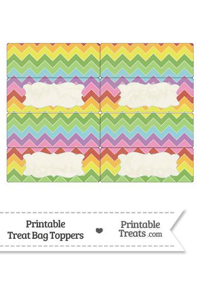 Vintage Rainbow Chevron Treat Bag Toppers from PrintableTreats.com