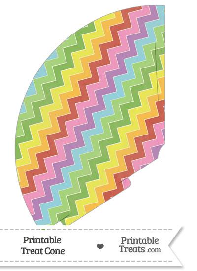 Vintage Rainbow Chevron Treat Cone from PrintableTreats.com