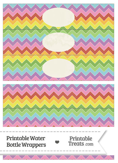 Vintage Rainbow Chevron Water Bottle Wrappers from PrintableTreats.com