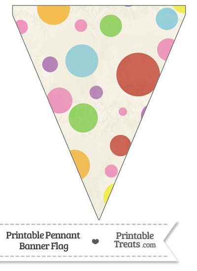 Vintage Rainbow Dots Pennant Banner Flag from PrintableTreats.com