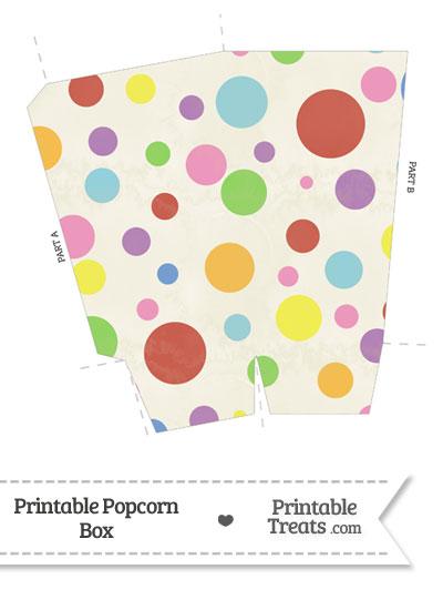 Vintage Rainbow Dots Popcorn Box from PrintableTreats.com