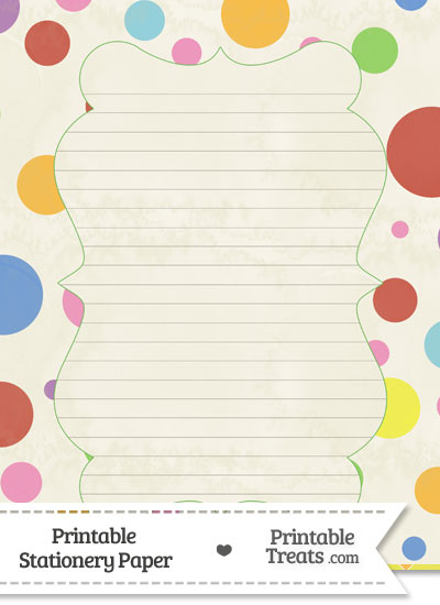 Vintage Rainbow Dots Stationery Paper from PrintableTreats.com