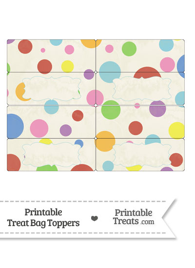 Vintage Rainbow Dots Treat Bag Toppers from PrintableTreats.com